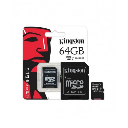 KINGSTON Memory 64GB Micro SDHC Class 10, Plastic with SD adapter