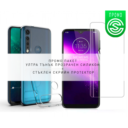 * Promo Pack * Ultra Slim 100% Transparent Silicone Back and Glass Screen Protector for Motorola One Macro