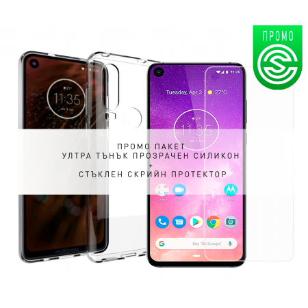 * Promo Pack * Ultra Slim 100% Transparent Silicone Back and Glass Screen Protector for Motorola One Vision