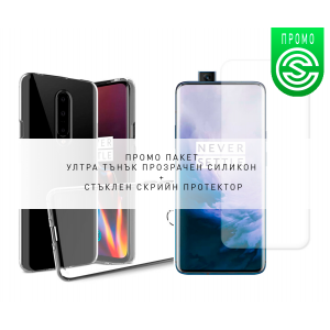 * Promo Pack * Ultra Slim 100% Transparent Silicone Back and Glass Screen Protector for OnePlus 7 Pro