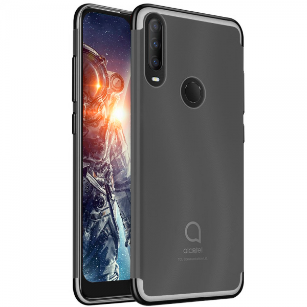 Glitter TPU Case black frame silikone case for Alcatel 1S 2020
