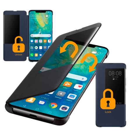 Black Quick Window Case for Huawei Mate 20