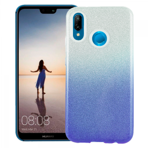 TPU Gel Silicone Case ENSIDA SHINE for Huawei P20 Lite - silver/Blue