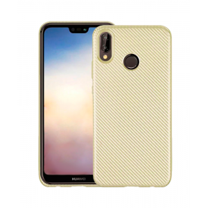 Gold silicone back with Carbon Effect i-Zore for Huawei P20 Lite