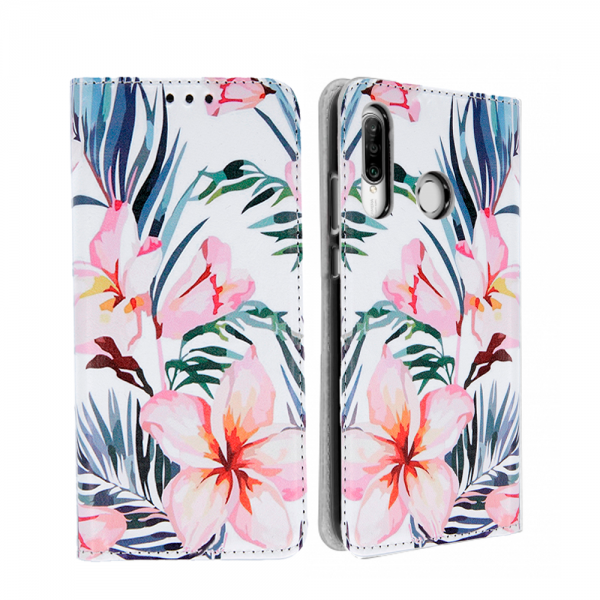 White Book MAGNETIC cover -print Trendy Blossom for Huawei P30 Lite