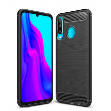 Forcell CARBON silicone back with carbon print for Huawei P30 lite / MAR-LX1M