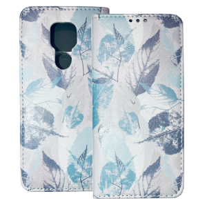 White Book MAGNETIC cover print Trendy Blue leaves#1 for Motorola Moto E7 Plus