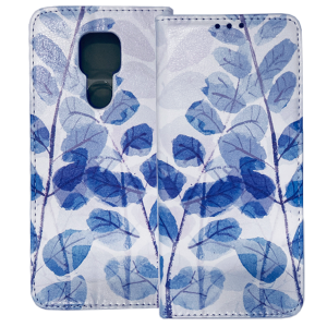 White Book MAGNETIC cover print Trendy Blue leaves#3 for Motorola Moto E7 Plus