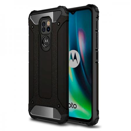Black Defender Armor Case for Motorola Moto E7 Plus