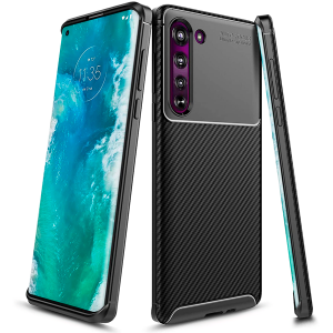 Black Plaid Fiber back with carbon print for Motorola Edge