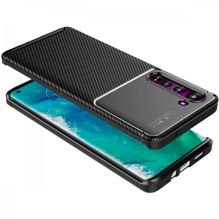Black Plaid Fiber back with carbon print for Motorola Edge / XT2063-3