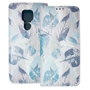 White Book MAGNETIC cover print Trendy Blue leaves#1 for Motorola Moto G9 Play