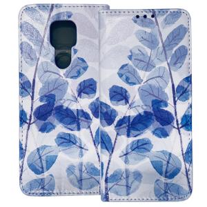 White Book MAGNETIC cover print Trendy Blue leaves#3 for Motorola Moto G9 Play