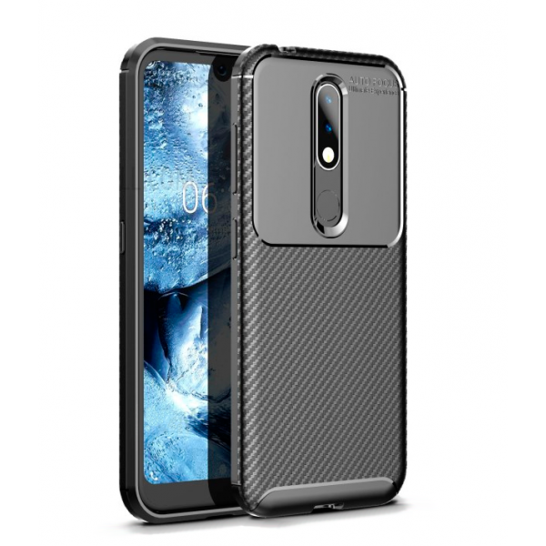 Black Plaid Fiber back with carbon print for Nokia 4.2