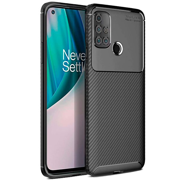 Black Plaid Fiber back with carbon print for OnePlus Nord N10 5G