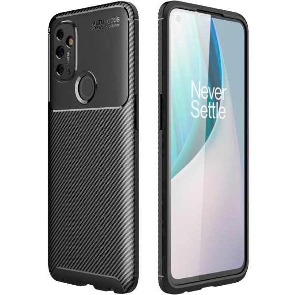 Black Plaid Fiber back with carbon print for OnePlus Nord N100 5G