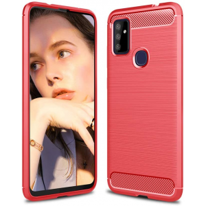 Red CARBON Fiber back with carbon print for OnePlus Nord N100 5G
