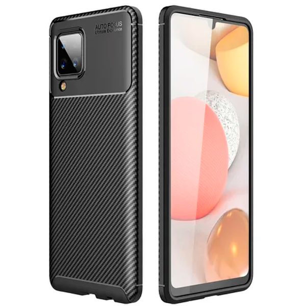 Black Plaid Fiber back with carbon print for Samsung Galaxy A12