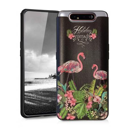 TPU Gel Silicone - Print Flamingo Fiower Case for Samsung Galaxy A80 / SM-A805F/DS