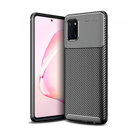 Black Plaid Fiber back with carbon print for Samsung Galaxy Note10 Lite