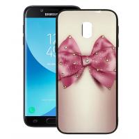 Black silicone back with Glass print - pink braid for Samsung Galaxy j3 2017 j330