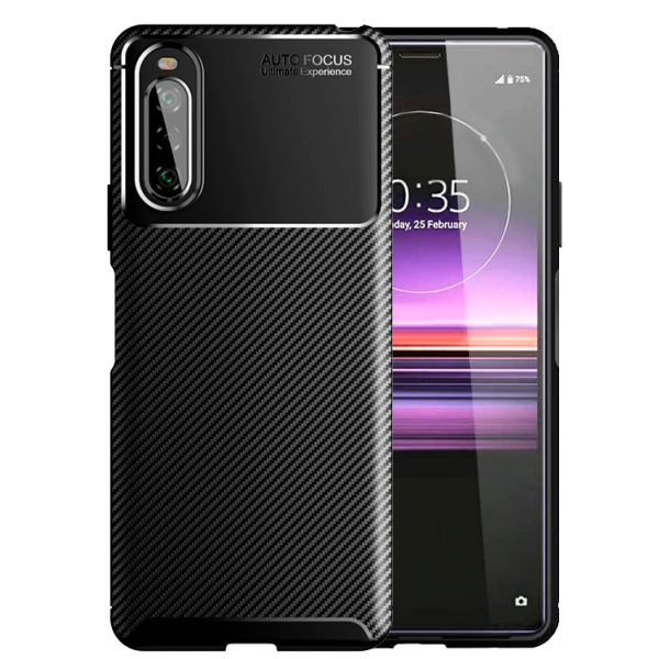 Black Plaid Fiber back with carbon print for Sony Xperia 10 II