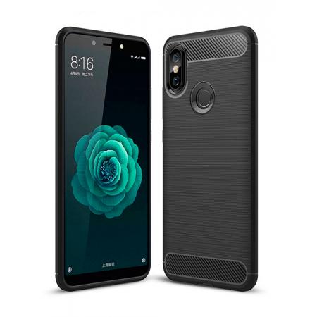 Black silicone back with carbon print for Xiaomi Mi A2 Lite (Redmi 6 Pro)