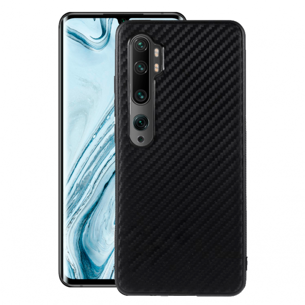 Black silicone back with Carbon Effect i-Zore for Xiaomi Mi Note 10