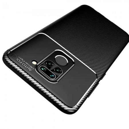 Black Plaid Fiber back with carbon print for Xiaomi Redmi Note 9