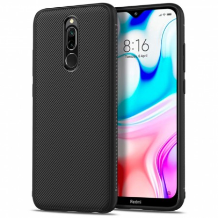 Black silicone back with Carbon Effect i-Zore for Xiaomi Redmi 8 / M1908C3IC, MZB8255IN
