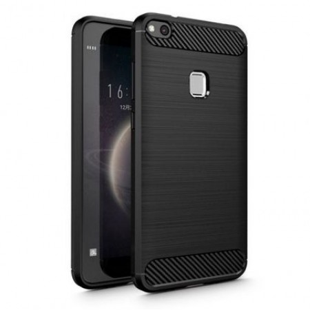 Black silicone back with carbon print for Huawei P10 Lite
