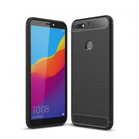Black silicone back with carbon print for Huawei Y7 Prime 2018