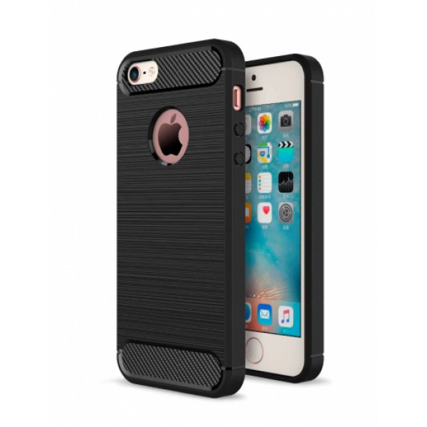 Black silicone back with carbon print for iPhone 5 / 5S / SE