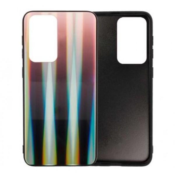 Black Glass Case Aurora Renbow for Samsung Galaxy S20 Ultra / G988 - Brown/Black