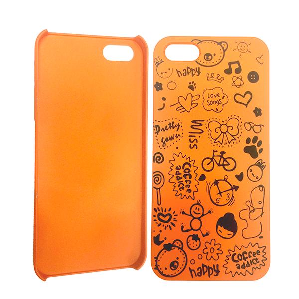 "Orange hard case ""HAPPY"" for iPhone 5 / 5S / SE"