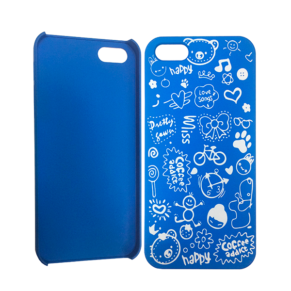 """Blue hard case """"HAPPY"""" for iPhone 5 / 5S / SE"""