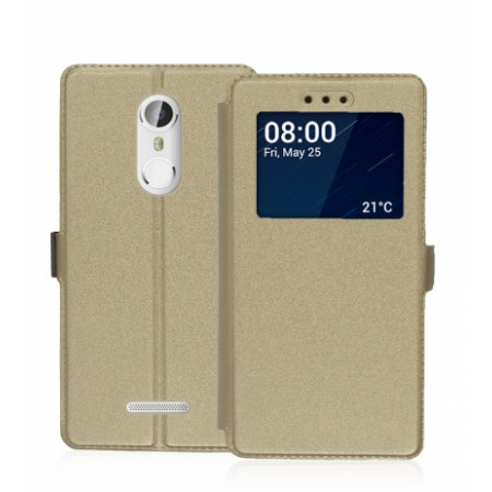 Black Book Window Pocket case for Coolpad Torino S - gold color
