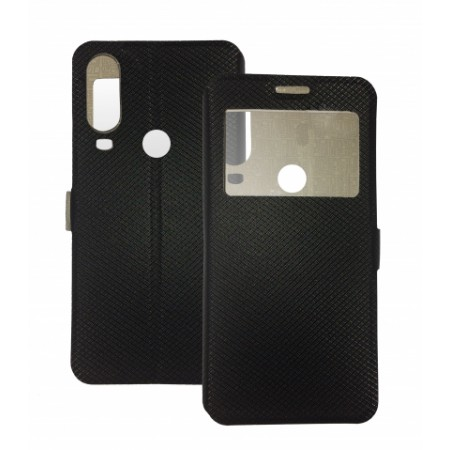 Book Window cover case for Motorola One Vision - black