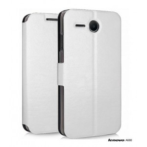 White Leather Skin Case cover for Lenovo A680