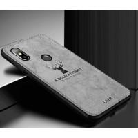 "Luxurious hard silicone gray case with ""Deer"" textile print for Xiaomi Mi A2 Lite (Redmi 6 Pro)"