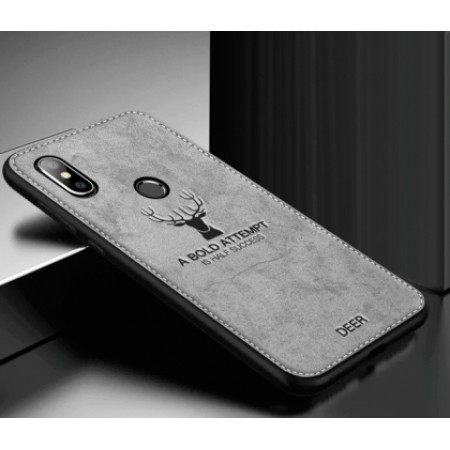 "Luxurious hard silicone gray case with ""Deer"" textile print for Xiaomi Mi A2 Lite (Redmi 6 Pro)"