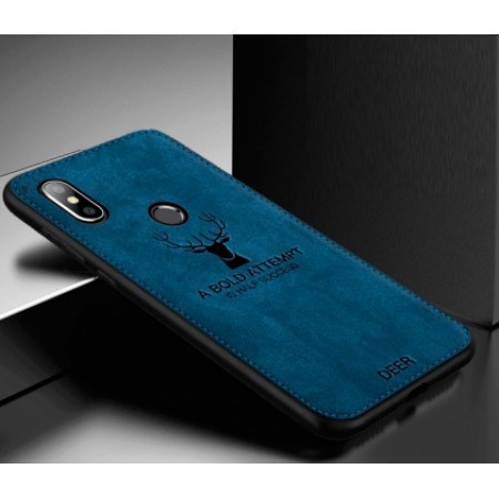 """Luxurious hard silicone blue case with """"Deer"""" textile print for Xiaomi Mi A2 (Mi 6X)"""