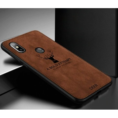 """Luxurious hard silicone brown case with """"Deer"""" textile print for Xiaomi Mi A2 (Mi 6X)"""