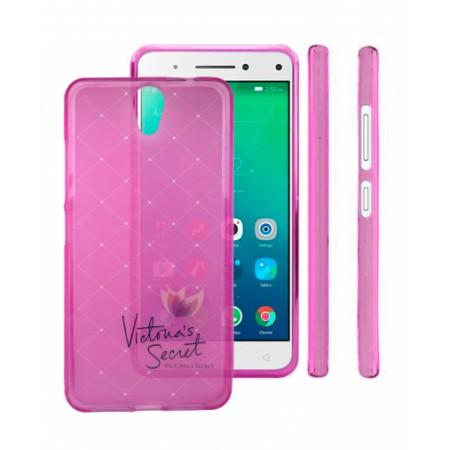 Pink TPU Silicone Case - white print for Lenovo Vibe S1 Lite