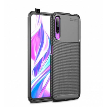 Black Plaid Fiber back with carbon print for Huawei P smart Pro 2019