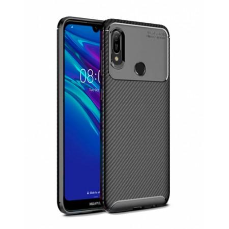 Black Plaid Fiber back with carbon print for Huawei Y6 / Y6 Prime (2019)