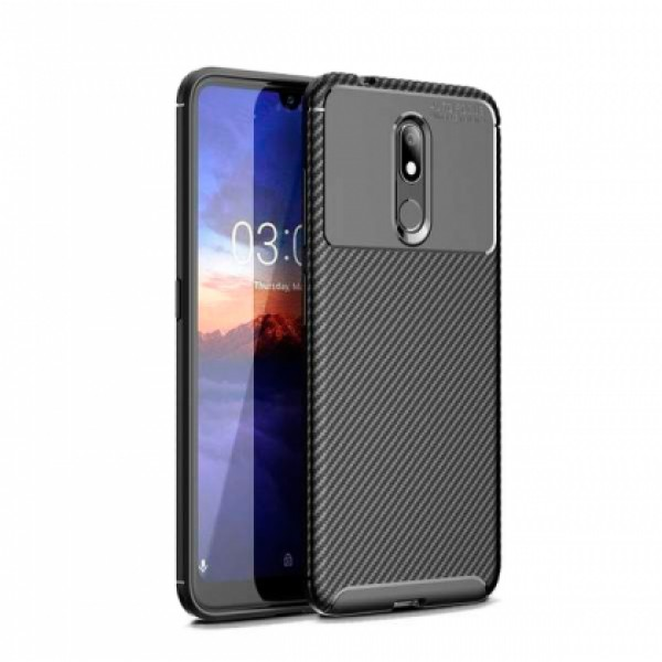 Black Plaid Fiber back with carbon print for Nokia 3.2