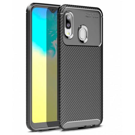 Black Plaid Fiber back with carbon print for Samsung Galaxy A20e / SM-A202F/DS