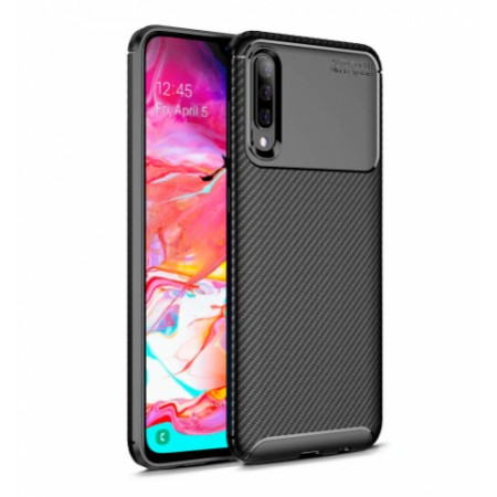 Black Plaid Fiber back with carbon print for Samsung Galaxy A70 / SM-A705FN/DS