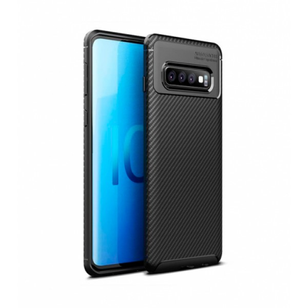Black Plaid Fiber back with carbon print for Samsung Galaxy S10
